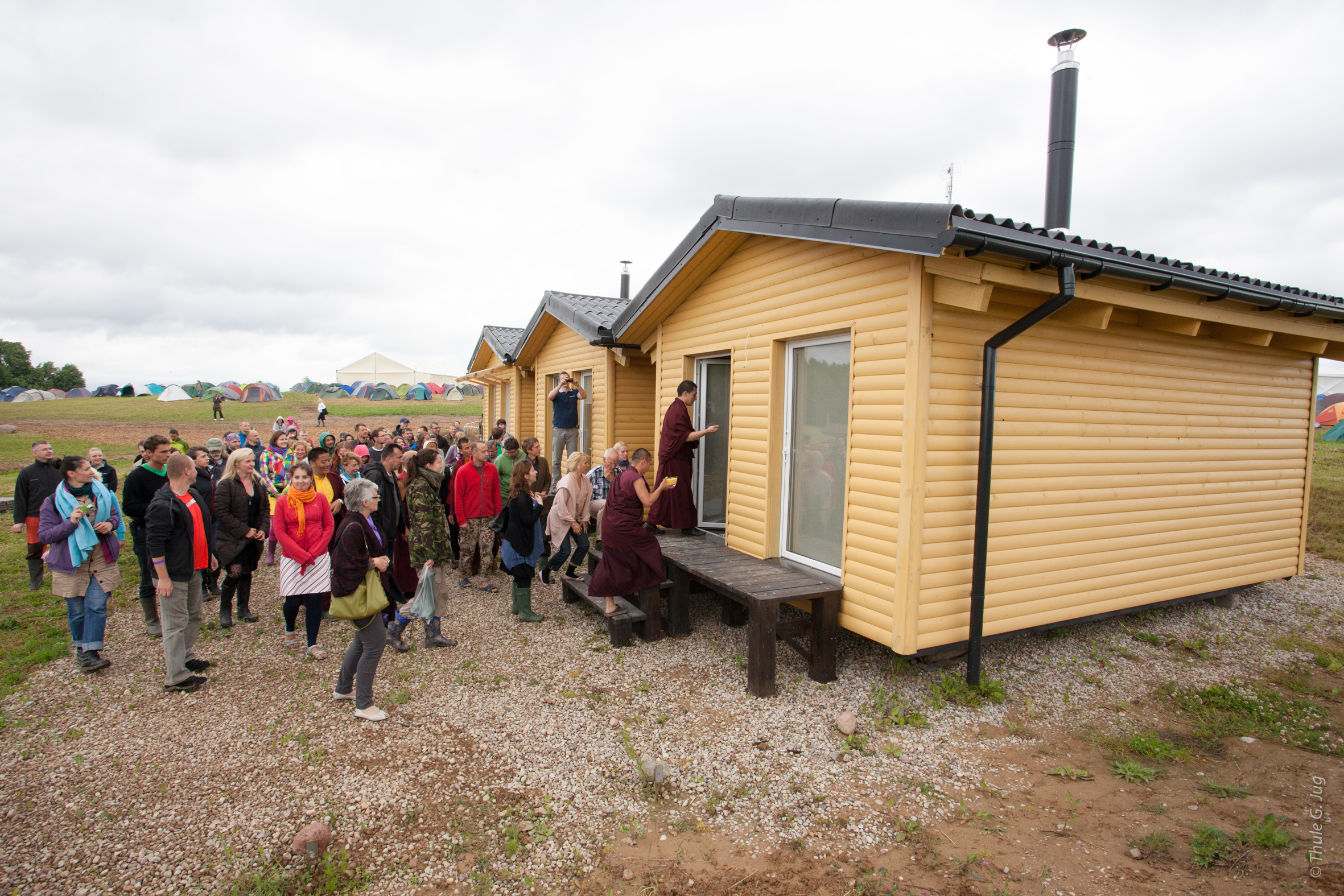 Karmapa in Lithuania: H.H. Gyalwa Karmapa blessing the buildings